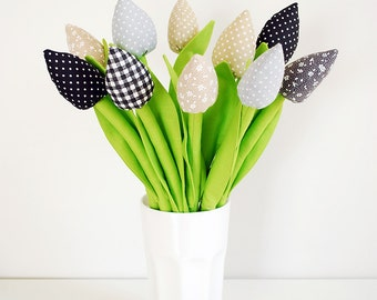 Fabric Flowers Fabric Tulips Wedding Bouquet Cotton Flowers Spring Flowers Bouquet Wedding Flowers Birthday Gift for mom Bridesmaid Gift