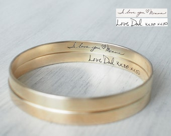 Actual Handwriting Bangle - Personalized Signature Bangle - Memorial Jewelry - Sympathy Gift - Mother's Gift #PB04K