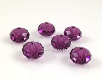 5040 AMETHYST 6mm Swarovski Crystal Donut Rondelle Spacers 12pieces Purple February Birthstone