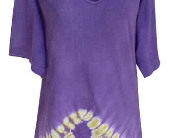 Plus Size Tunic Tie Dye Top | Women's Tie Dye Festival Top | Hand Tie Dye in Cotton, Woman Plus Sizes XL  2X Boho Tunic Top