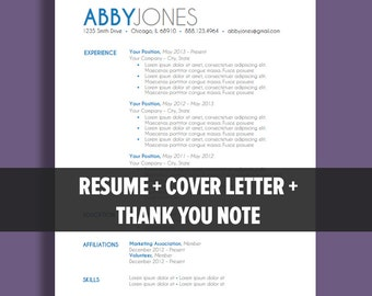Resume Template Package | Instant Download | Microsoft Word Document | Cover Letter | Thank You Note | Bold Blue