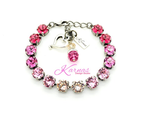 PINK PASSION 8mm Bracelet Swarovski Elements *Pick Your Finish *Karnas Design Studio *Free Shipping*