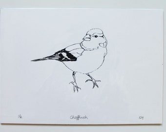 Limited edition chaffinch bird screenprint in black and white