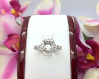 0.60CTW Diamond Halo Engagement Semi Setting Ring in 18K White Gold