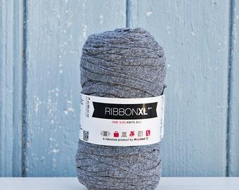 Dark Grey Ribbon XL Yarn, Cotton Yarn XL, Recycled Cotton Yarn, Knitting, Crochet, Dark Grey yarn