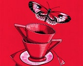 """Buttercup Red - Kitchen art with butterflies for tea-drinkers - 8x10"""" art print in a white mount to fit a 10x12"""" frame"""
