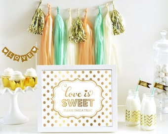 Love is Sweet Bridal Shower Wedding Candy Buffet Decorations Gold Love is Sweet Take A Treat Sign Sweet Table Decor SIGN ONLY (EB3058FW)
