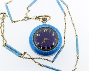 Argent Dore Silver Pocket Watch Necklace with Light Blue Enamel
