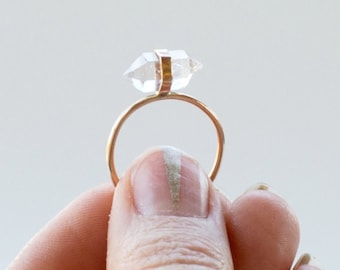 Herkimer Diamond Ring Herkimer Diamond Jewelry Boho Modern Minimal 14k Gold Fill Silver Rose Gold Fill 14k Solid Gold Raw Crystal Raw Quartz
