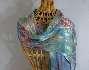 "Fringed Scarf ""Spring Pastels--Mint green, Rose, and Blue"", Hand painted Rayon/Silk Devore Scarf"