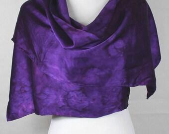 "Hand painted silk scarf deep Purple, elegant Charmeuse 14""x72"" OOAK ready to ship"