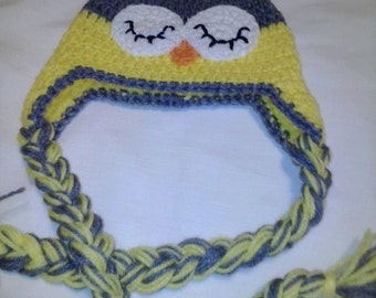 Crochet owl hat with tassels. toddler size, child size, teen size, adult size, crochet winter hat, owl hat, crochet owl hat, yellow and grey