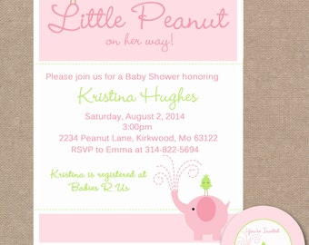 Elephant Baby Shower Invitation, Elephant Baby Shower Invite, Bird, Elephant, Pink Baby Shower Invite, Baby Shower Invitation (#315)