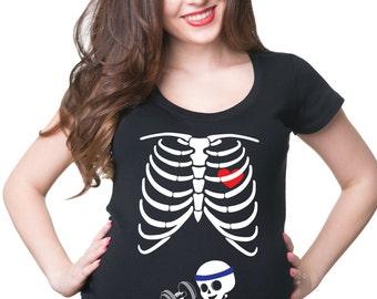 Pregnancy Top Skeleton Baby Gym T-Shirt Halloween Costume Tee Shirt Birth Announcement
