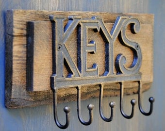 Rustic Key Holder Hook -  Handcrafted from Reclaimed Wood - Wall Hanging for Keys - Wall Decor - Wall Organizer - Key Hook - Made to Order