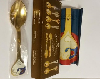 July 1978 A Michelsen Christmas Spoon 925 Denmark Sterling Vermeil Enamel Alfelt  Solstice Sealed