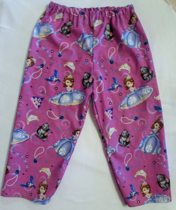 Sophia the First pajama cotton pants / elastic waste / 6 mon. to 14 children