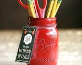 Teacher Gift - Teacher Mason Jar - End Of Year Teacher Gift - Teacher Appreciation - Gifts For Teachers - Pencil Holder - Mason Jar Decor