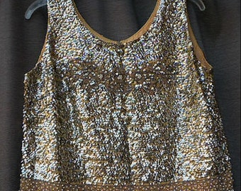 Spring/Summer Clearance // DRESS Like A Celebrity For LESS / Sale / Vintage 60s Sequined Beaded Top / Elegant