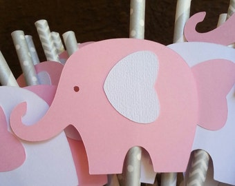 12 elephant straw toppers