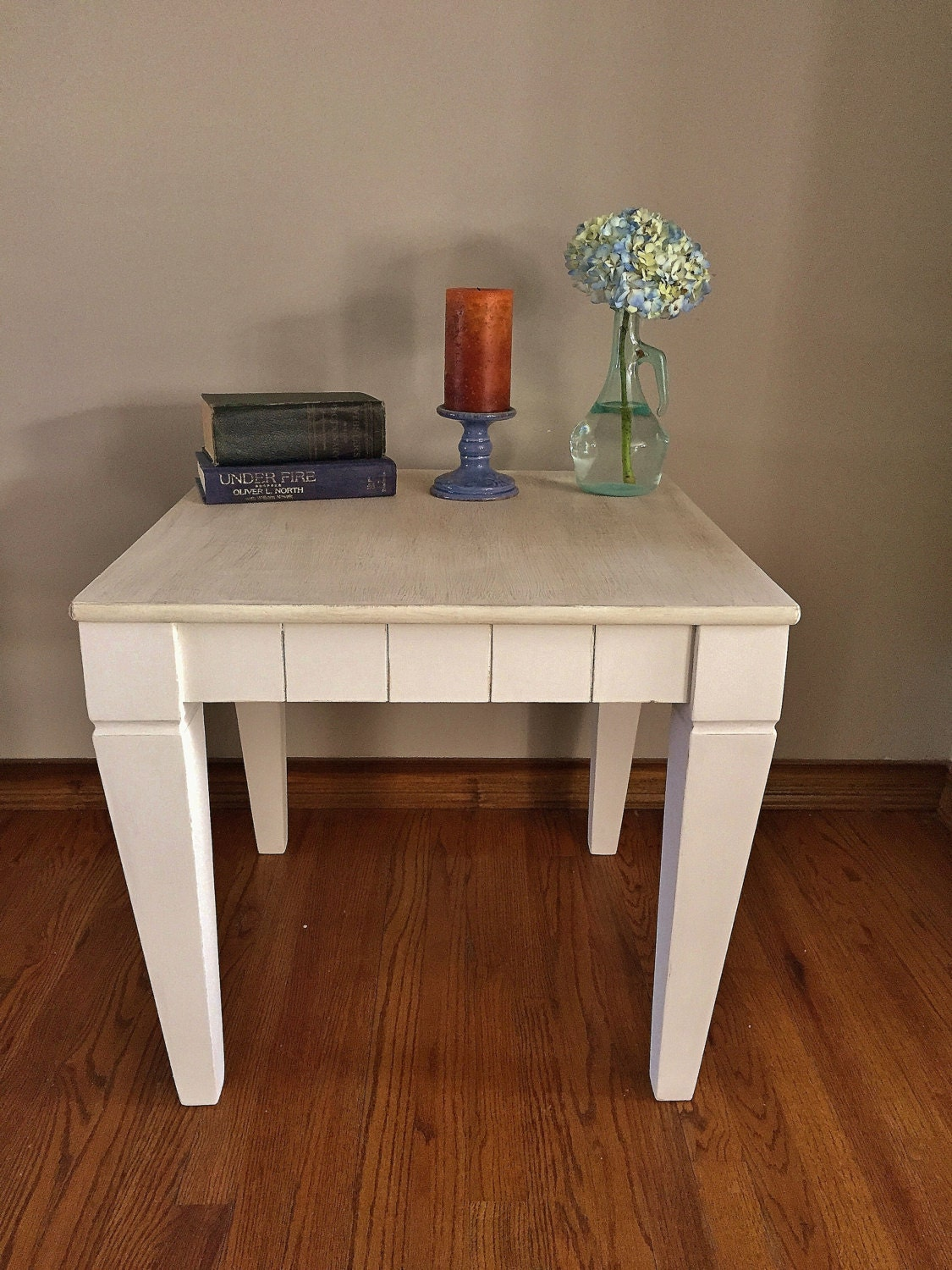 Rustic/ Farmhouse/Cottage/white End Table Side Table