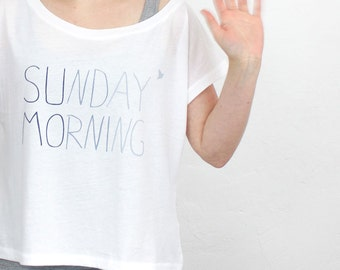 Sunday Morning ombre crop top - white / blue - Women