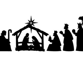 nativity silhouette vinyl decal chistmas vinyl nativity scene ...