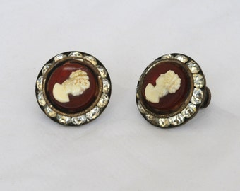 Vintage Red Cameo Rhinestone Brass Earrings, 164