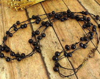Two Strands of Acai Beads Necklace, Layered Necklace, Illusion Necklace, Nature Jewelry, Handmade, Multi Strand