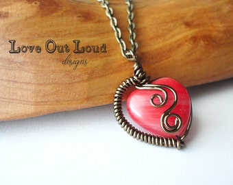 Wire-Wrapped Heart in coral red & bronze