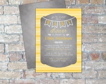 Smokey + Yellow Stripes Baby Shower Invite {Gender Neutral} {Digital Item}