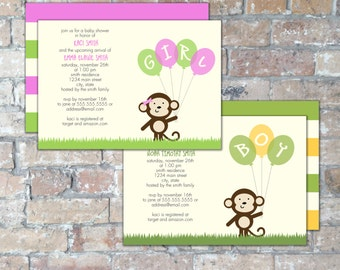Monkey Baby Shower Invite {Boy or Girl} {Digital Item}
