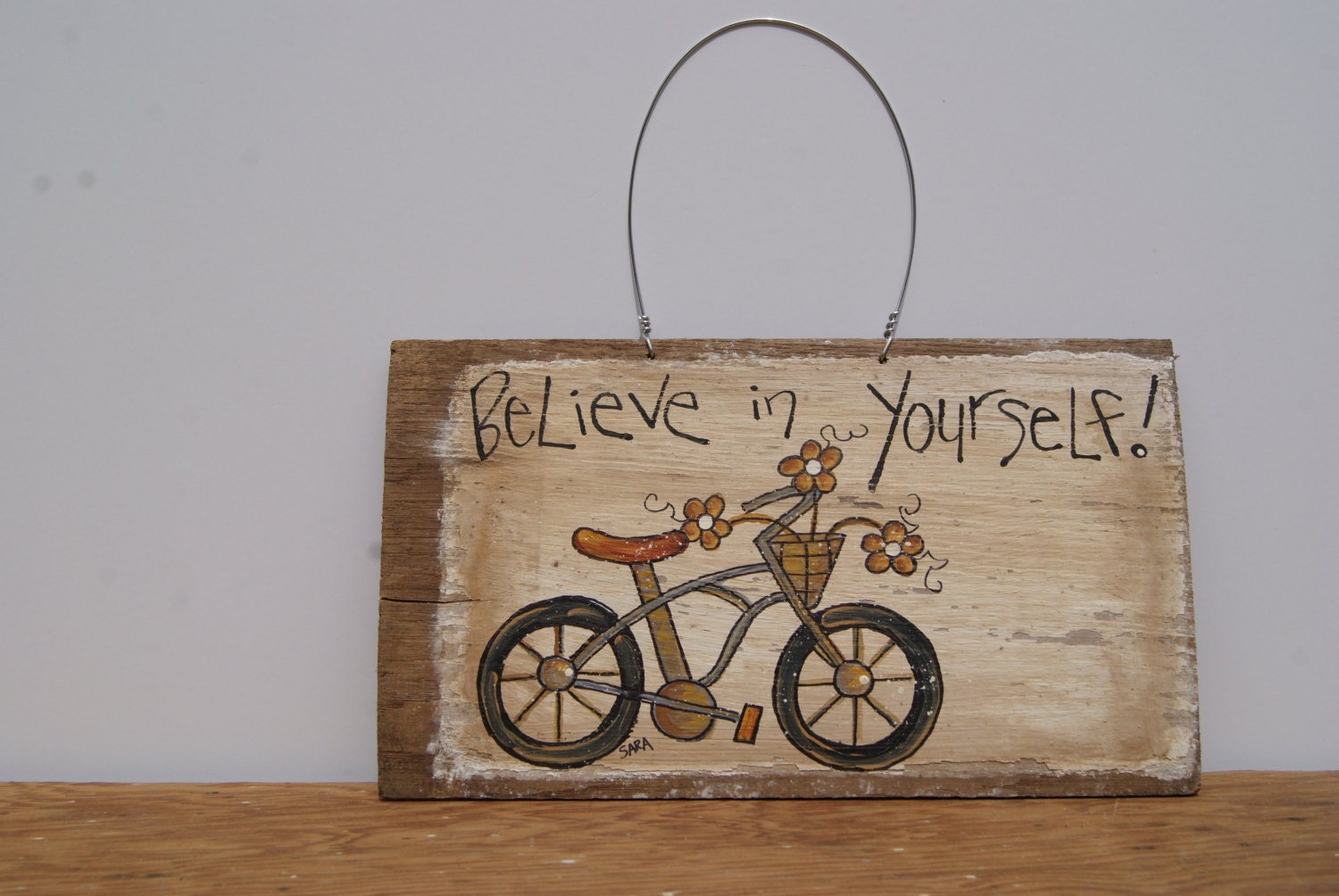 Distressed Wood Sign Hand Painted Bike Art Wood Sign Country