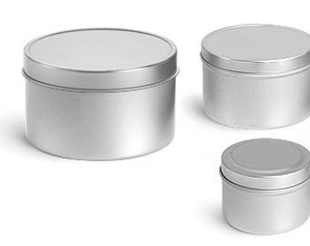 deep metal tin with rolled edge and lid set of 2