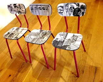 Chairs, Art, design PARIS -- Les demoiselles de la TOUR EIFFEL -- 3 upcycled chairs black and white Paris