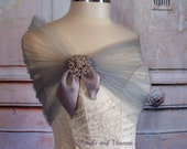 Silver Tulle Shrug Gray Bolero Vintage Style Tulle Stole With Rhinestone Brooch Silver Tulle Bolero Silver Tulle Shoulder Wrap Prom Shawl