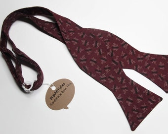 Freestyle Burgundy Bow Tie - Floral Bow Tie - Handmade Men's Bow Tie - Self-Tie Bow Tie - Wine Bow Tie - Calico Bow Tie