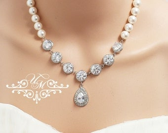 Wedding Jewelry Single strand Swarovski Pearl Zirconia Teardrop Necklace Bridal Necklace Bridal Jewelry Bridesmaids jewelry - TIFFANIE MACEY