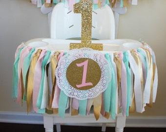 Mint, Pink, Gold Garland, 1st Birthday Garland, 1st Birthday Banner, Highchair Banner, Sweets table decor, Smash Cake Banner, Photo Prop