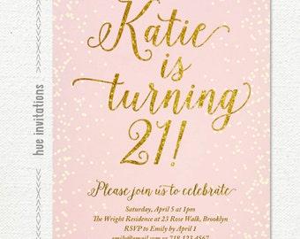 St Birthday Invitation For Women Blush Pink Silver Glitter - 21st birthday invitations gold coast