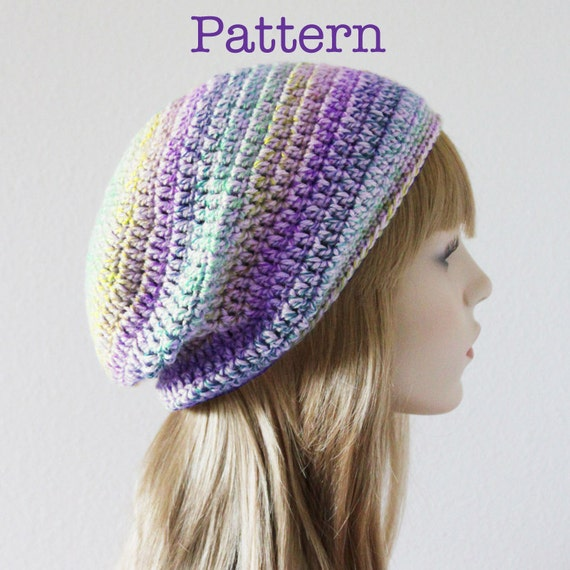 Really Easy Crochet Hat Patterns : CROCHET PATTERN Easy Crochet Slouchy Beanie by ColourandCotton