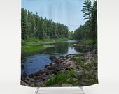 Shower Curtains, Boundary Waters, Nature Landscape, Blue and Green, Bath Decor, Home Photo Products, Unique Gifts, Housewarming, Bathroom