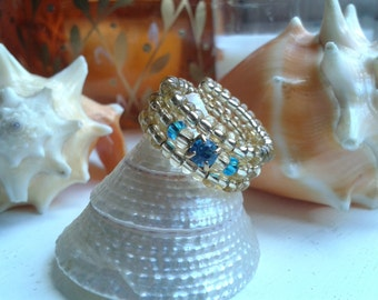 Gold and Aqua Blue Crystal Adjustable Fashion Ring Size S/M US/Canada 6 UK L1/2