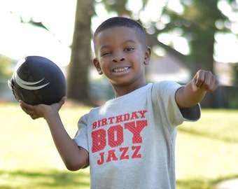 Athletic Birthday Boy Shirt with Number on Back and Embroidered Name
