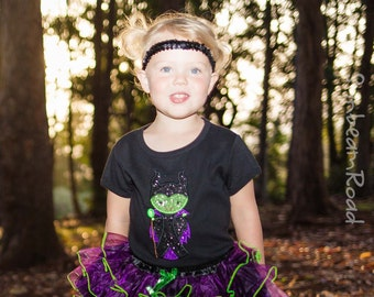 Girl Maleficent Shirt with Embroidered Name