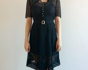 50s black floral eyelet lace dress