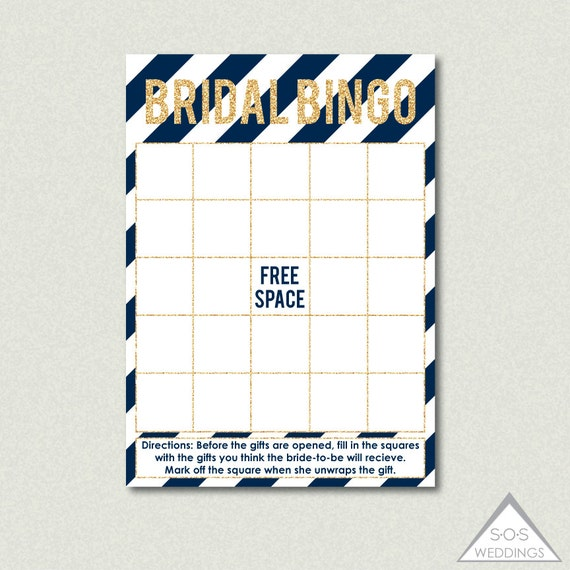 Bridal Shower Bingo, Fill-in Bingo Cards, Bridal Shower Game, Printable Bingo Cards, Navy and Gold Bridal Shower, Gift Bingo, Printable PDF