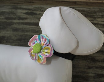 EASTER Flower Collar Attachment & Accessory for Dogs and Cats - Pastel Stripes