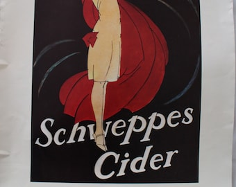 Schweppes cider advert poster since 1783  1930s 1920s art deco style 1970s Glamorous young lady flapper