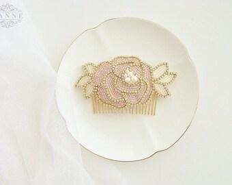 Blush Bridal Hair Comb, Blush Wedding Hair Comb, Pearl and Crystal Bridal Headpiece, Blush Hair Piece, Gold Floral Hair Comb, Pink Hair Comb